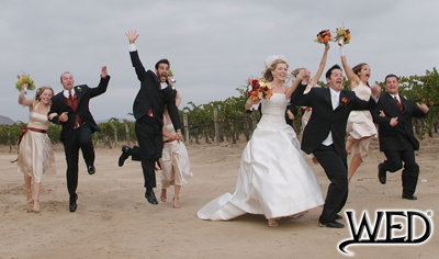 wedding reception bride and groom with their wedding party jumping in front of a vineyard and Wedding Entertainment Director® logo